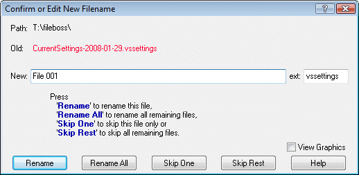 Confirm or edit new filename dialog