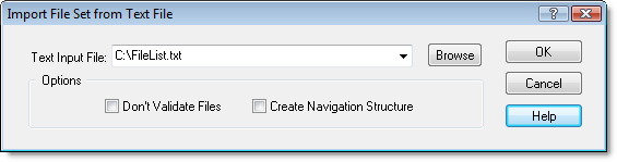 Dialog for creating virtual folders from a text file